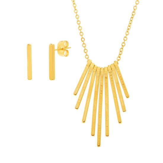 Imagen de Gold-Tone Stainless Steel Dangling Bar Pendant Cable Chain Necklace and Post Earring Set
