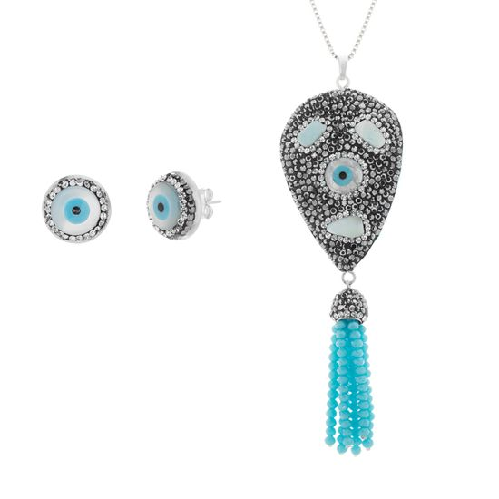 Imagen de Silver-Tone Stainless Steel Multicolored Crystal Evil Eye & Tassel Dangle Ball Chain Necklace/ Post Earring Set