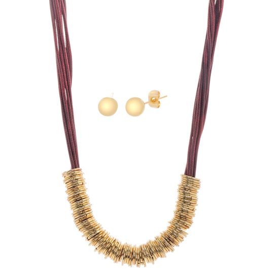 Imagen de Gold-Tone Stainless Steel Red Cord Rings Necklace and Post Earring Set