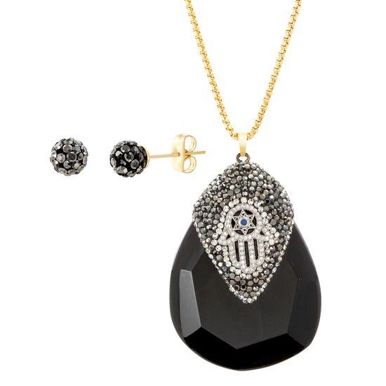 Imagen de Gold-Tone Stainless Steel Black Teardrop Stone Crystal Hamsa Hand Design Pendant Cable Chain Necklace & Earring Set