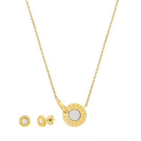 Imagen de Gold-Tone Stainless Steel Mother of Pearl Disc Pendant Cable Chain Necklace & Post Earring Set