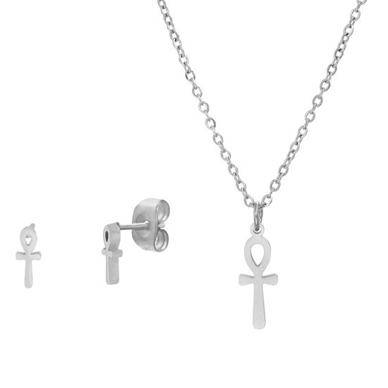 Imagen de Silver-Tone Stainless Steel Ankh Cross D/C Cable Chain Necklace/Post Earring Set