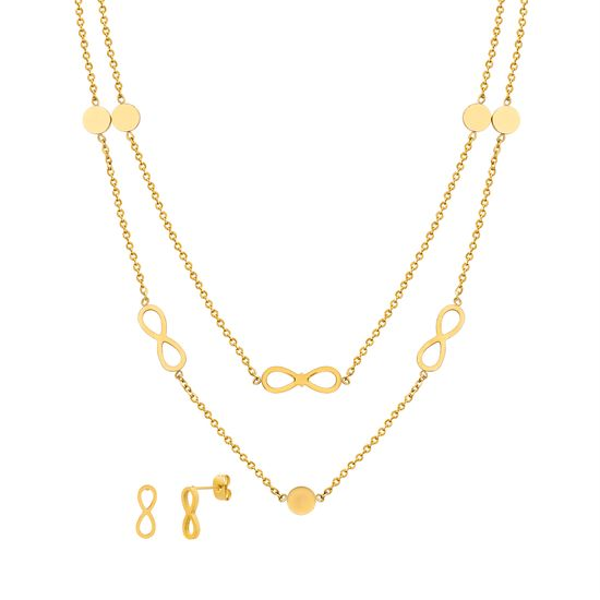 Imagen de Gold-Tone Stainless Steel Infinity Symbol/Disc Stations Double Layered Cable Chain Necklace & Earring Set