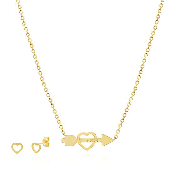 Imagen de Gold Plated Stainless Steel Arrow Through Heart Pendant Cable Chain Necklace & Earring Set