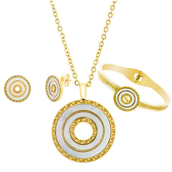 Imagen de Mother of Pearl Greek Key Design Open Circle Pendant on Cable Chain Necklace Bangle & Earring Set in Gold IP Stainless Steel