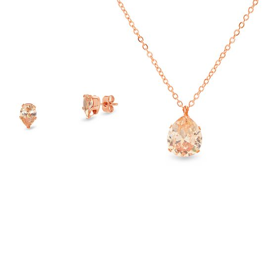 Imagen de Faceted Crystal Teardrop Necklace & Earring Set in Gold IP Stainless Steel