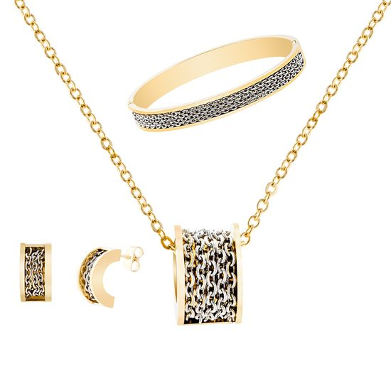 Picture of Chain Design Necklace Earring and Bangle Set in Two-Tone Stainless Steel