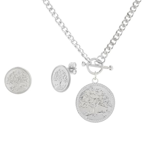 Imagen de Tree of Life Necklace and Earring Set in Stainless Steel