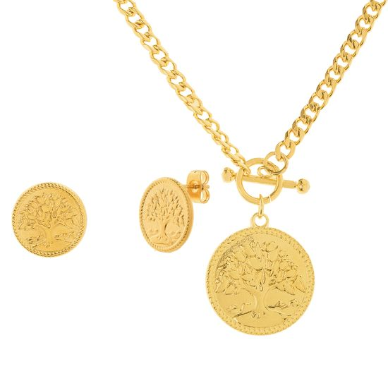 Imagen de Tree of Life Necklace and Earring Set in Gold IP Stainless Steel