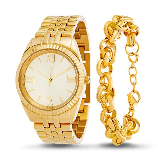 Picture of Gold-Tone Stainless Steel Roman Numeral Watch and Rolo Chain Bracelet Set