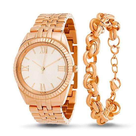 Imagen de Rose-Tone Stainless Steel Roman Numeral Watch and Rolo Chain Bracelet Set