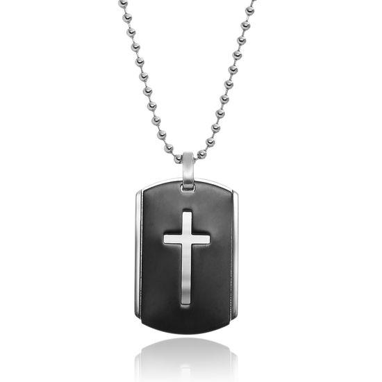 Imagen de Black-Tone Stainless Steel Cross Dogtag Pendant