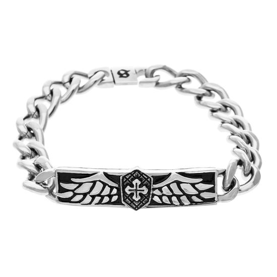 Imagen de Sanctify Silver-Tone Stainless Steel ID Plate Winged W/ Cross Curb Chain Bracelet