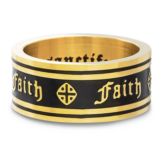 Imagen de Sanctify Men's Faith Band Ring in Gold IP Stainless Steel