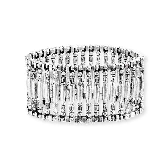 Imagen de Steve Madden Silver-Tone Oxidized Geometrical Design Stretch Bracelet