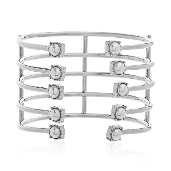 Imagen de Steve Madden Silver-Tone Stainless Steel 5 Rows with Pearl Open Work Cuff Bangle