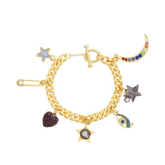 Imagen de Steve Madden Multi-Colored Moon & Star Link Bracelet in Gold Plated