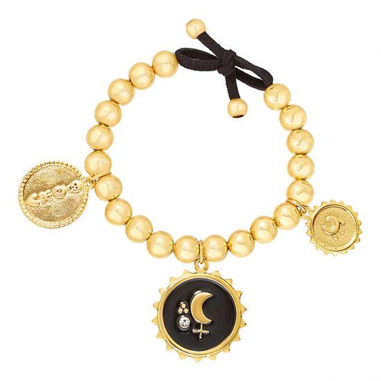 Imagen de Steve Madden Yellow Gold Tone Beaded and Black Moon Charm Bangle Bracelet for Women