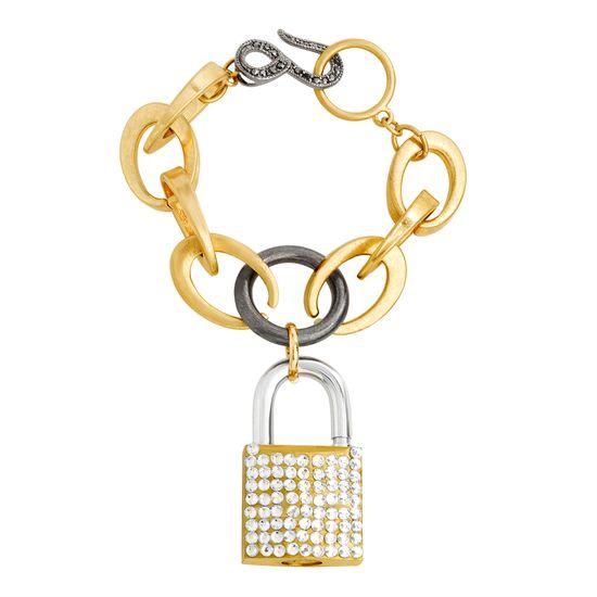 Imagen de Steve Madden Women's Polished Rhinestone Lock Design Charm Link Tri-Tone Bracelet