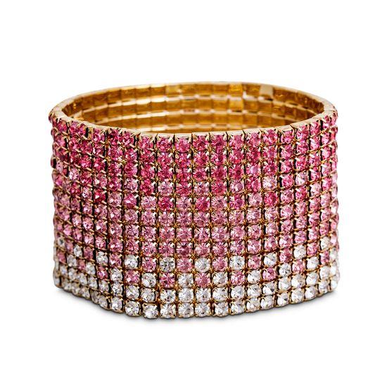 Imagen de Steve Madden Yellow Gold-Tone Pink Ombre Rhinestone Stretch Bracelet for Women