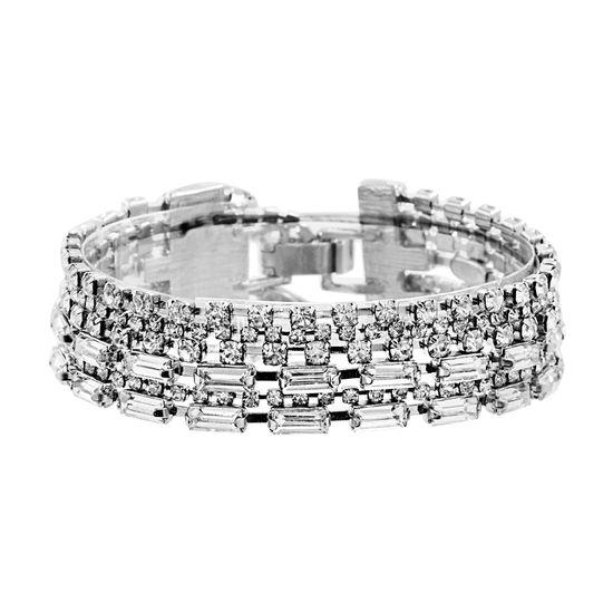 Imagen de Steve Madden Silver Tone Rhinestone Layered Bangle Bracelet for Women