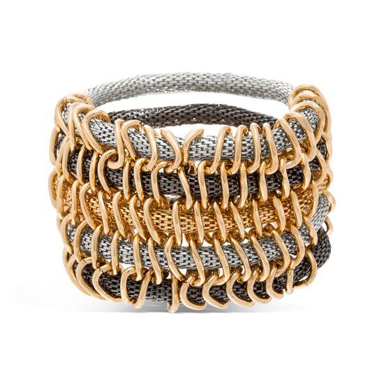 Imagen de Steve Madden Tri-Tone Multi Row Mesh Stretch Bracelet