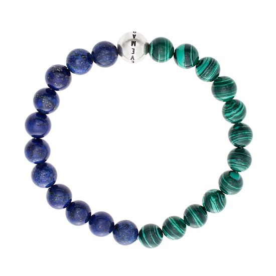 Imagen de Steve Madden Silver Tone Stainless Steel Green and Blue Beaded Bracelet