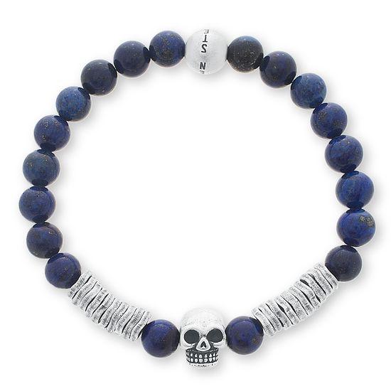 Imagen de Steve Madden Silver-Tone Stainless Steel Oxidized Skull Station Stretch Lapis Bead Men's Bracelet