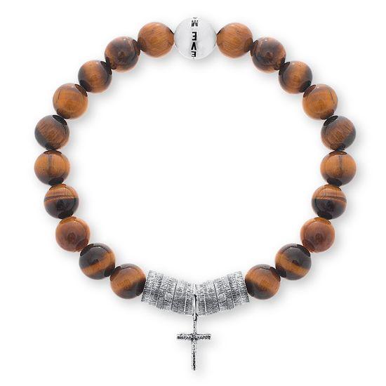 Imagen de Steve Madden Oxidized Stainless Steel Men's Cross Beaded Stretch Tiger Eye Beads Bracelet