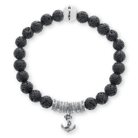 Imagen de Steve Madden Oxidized Stainless Steel Men's Anchor Beaded Stretch Black Lava Beads Bracelet