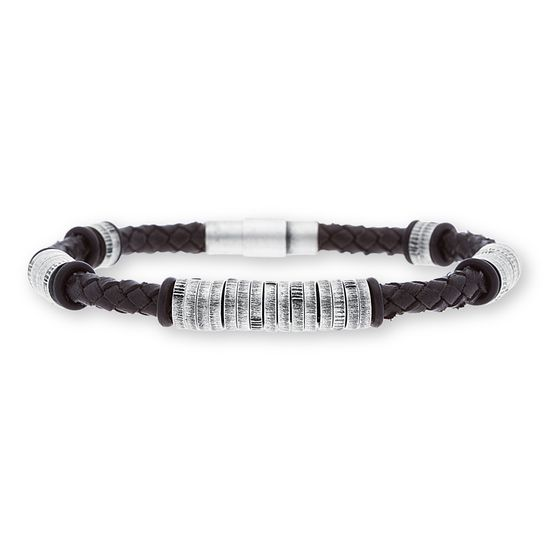 Picture of Steve Madden Silver-Tone Stainless Steel Men's Oxidized Ring Stations Black Braided Leather Bracelet