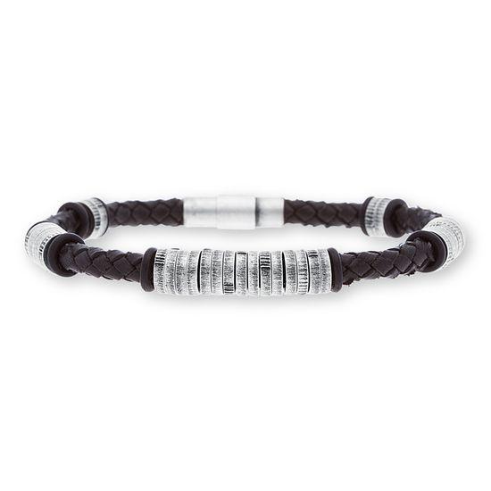 Imagen de Steve Madden Silver-Tone Stainless Steel Men's Oxidized Ring Stations Black Braided Leather Bracelet