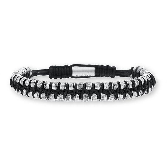 Imagen de Steve Madden Oxidized Stainless Steel Black Cord Woven Adjustable Bracelet