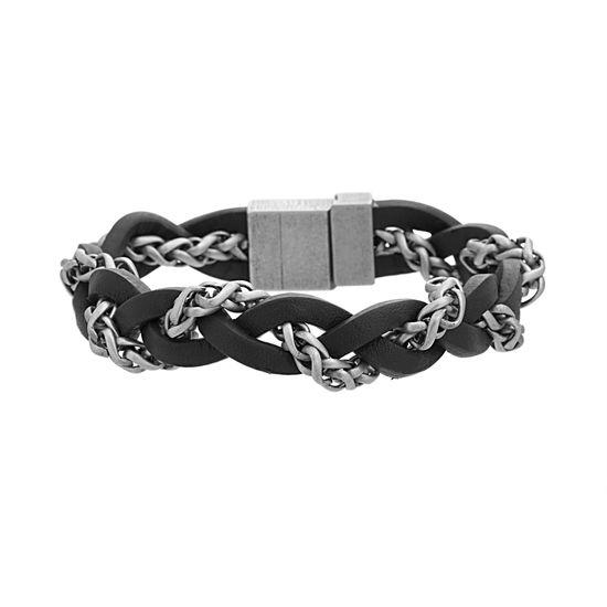 Imagen de Steve Madden Silver Tone Stainless Steel Braided Wheat Chain/ Black Leather Bracelet.