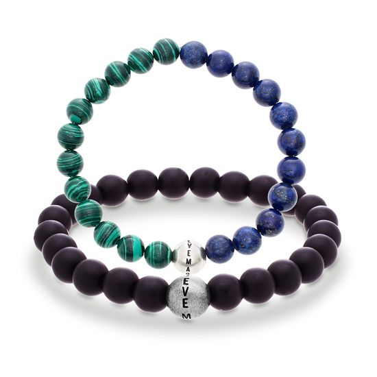 Imagen de Steve Madden Silver-Tone Malachite/Lapis/Lava Beaded Stretch Men's Duo Bracelet Set
