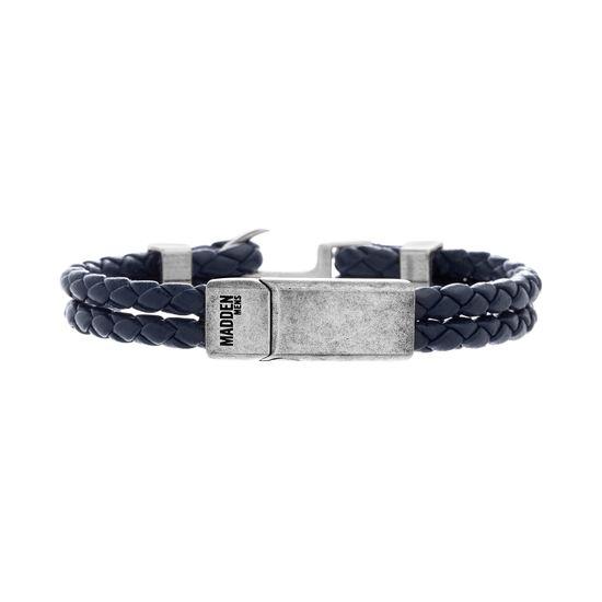Imagen de Steve Madden Silver-Tone Stainless Steel Aged Finish Blue Leather Braided Bracelet