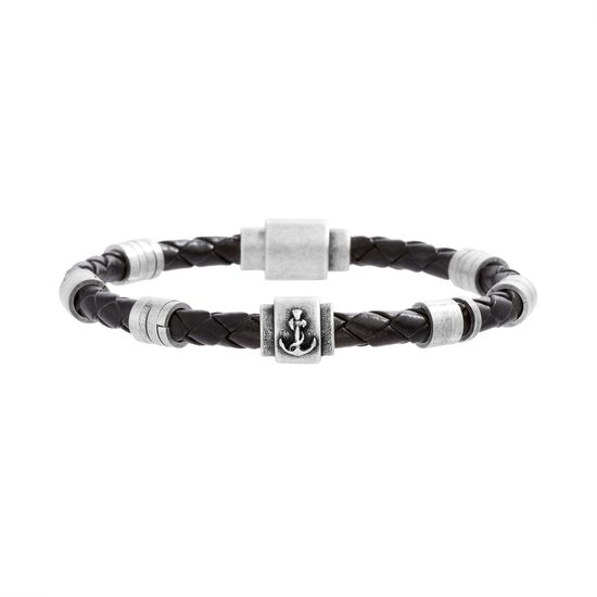 Imagen de Steve Madden Silver-Tone Stainless Steel Men's Rondelle Anchor/Ring Stations Black Braided Leather Bracelet