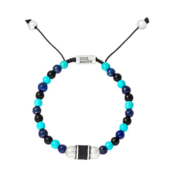 Imagen de Steve Madden Silver-Tone Stainless Steel Men's Lava Rondelle/Turquoise Beaded Adjustable Bracelet