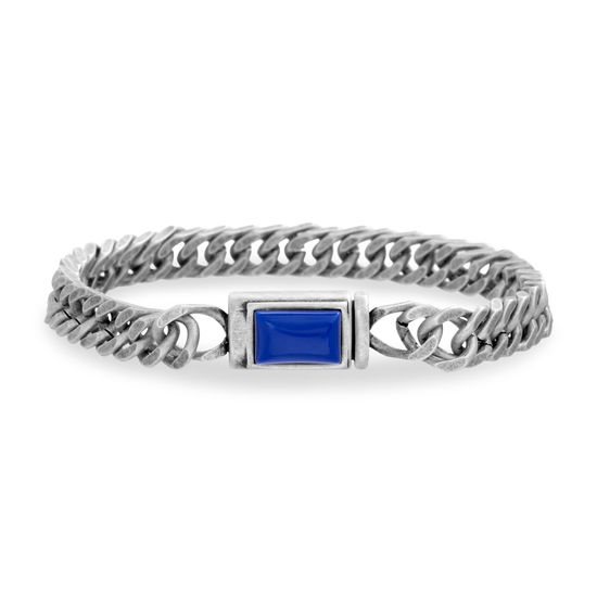 Imagen de Steve Madden Men's Blue Simulated Lapis Rectangle Design Curb Chain Bracelet in Stainless Steel, Silver-Tone, One Size