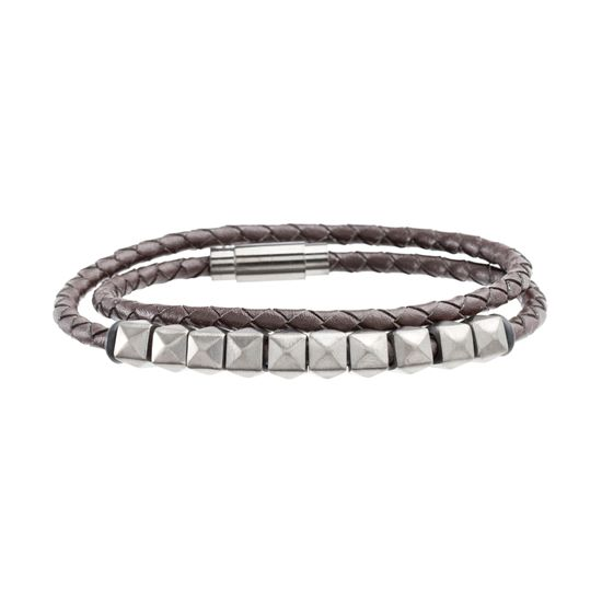 Imagen de Steve Madden Black-Tone Stainless Steel Men's Black Beads Leather Wrap Bracelet