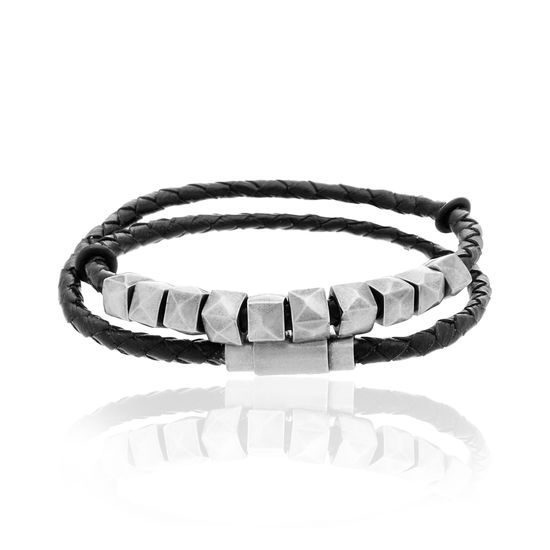 Imagen de Steve Madden Two-Tone Stainless Steel Stud Beads Braided Leather Wrap Bracelet