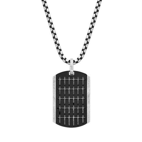 "Imagen de Steve Madden Men's 18"" Small Cross Design Dogtag Necklace with Box Chain in Two-Tone Stainless Steel"
