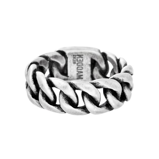 Imagen de Steve Madden Oxidized Stainless Steel Curb Chain Design Statement Ring for Men (Size 10)