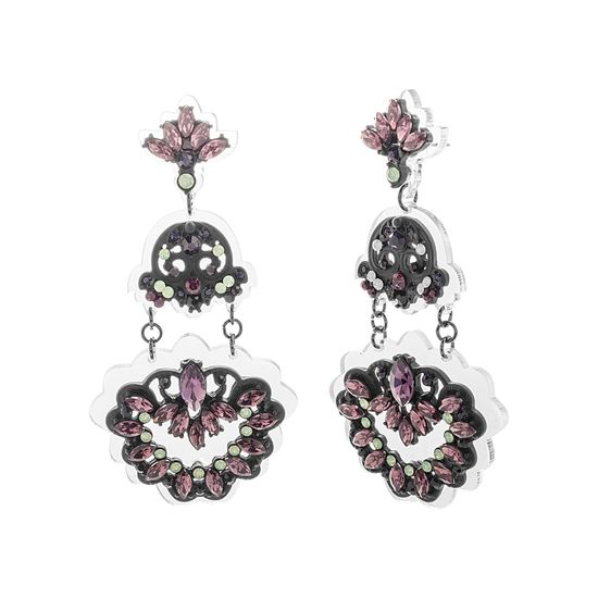 Imagen de Steve Madden Black IP Plated Crystal Floral Design Post Earring