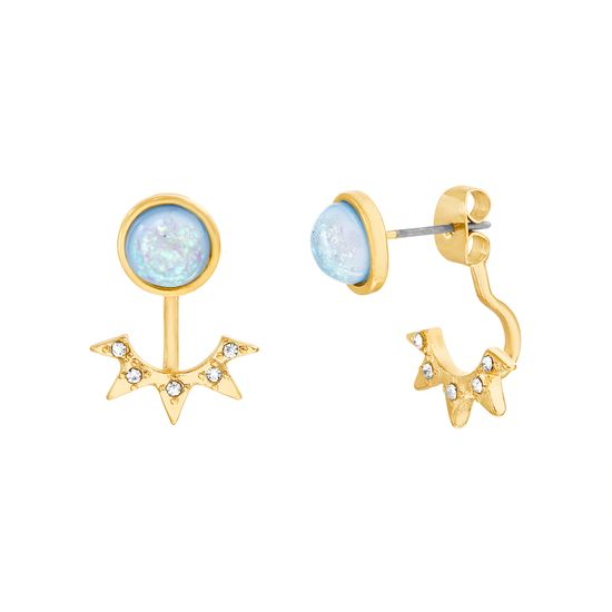 Imagen de Steve Madden Blue Opal Front and Back Earring in Gold Plated
