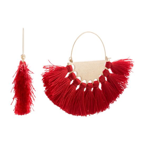 Imagen de STEVE MADDEN Yellow Gold Tone Red Half Circle Tassel Earrings For Women