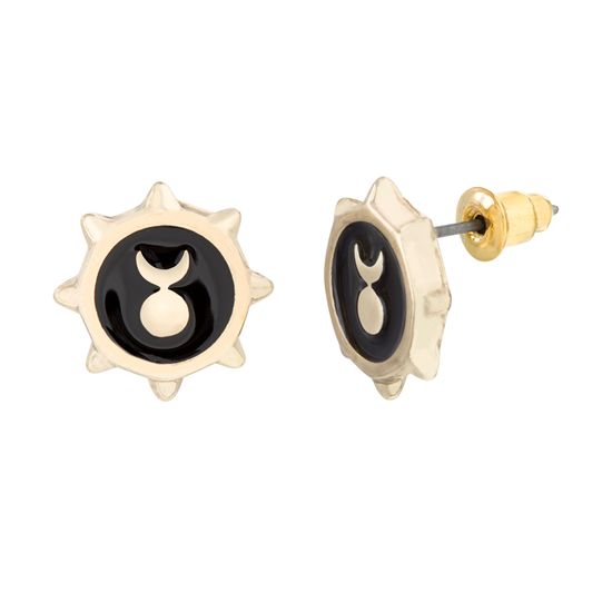 Imagen de Steve Madden Women's Sun and Moon Scalloped Stud Earrings Set Yellow Gold-Tone/Black One Size