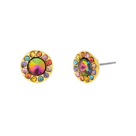 Imagen de Steve Madden Women's Metallic Rhinestone Yellow Gold-Tone Halo Stud Earring