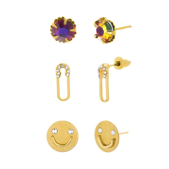 Imagen de Steve Madden Women's Pin Face Stud Post Earrings Trio Gold One Size