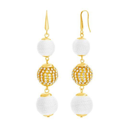 Imagen de STEVE MADDEN Yellow Gold Tone and White Ball Drop Dangle Earrings For Women